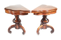 Rare and Unusual Pair of Victorian Burr Walnut Card Tables