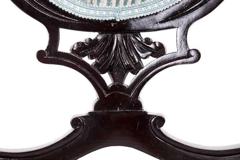 Pair of Victorian Carved Black Lacquered Library Chairs For Sale 8