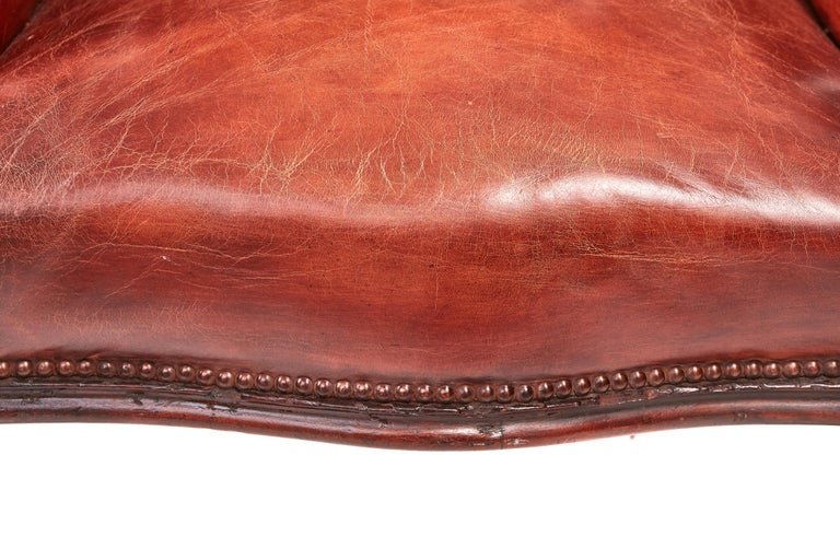 Quality William IV Leather Barrel Back Library Chair For Sale 3