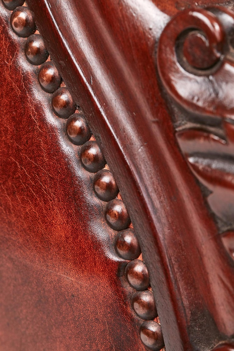 Quality William IV Leather Barrel Back Library Chair For Sale 5