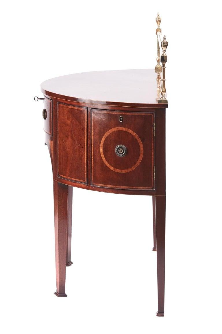 European Fine George III Small Mahogany Inlaid Demilune Sideboard For Sale