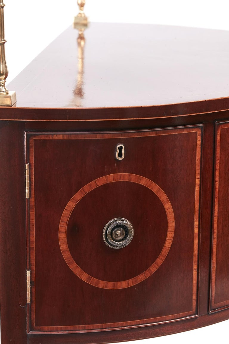 18th Century and Earlier Fine George III Small Mahogany Inlaid Demilune Sideboard For Sale