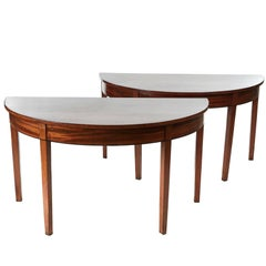 Pair of Large Georgian Mahogany Demilune Console Tables