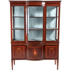 Large Edwardian Inlaid Mahogany Bow Front Display Cabinet