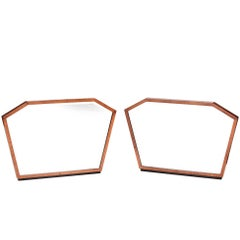 Unusual Pair of Walnut Art-Deco Wall Mirrors
