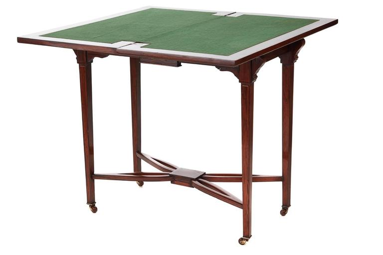 European Edwardian Rosewood Inlaid Card Table For Sale