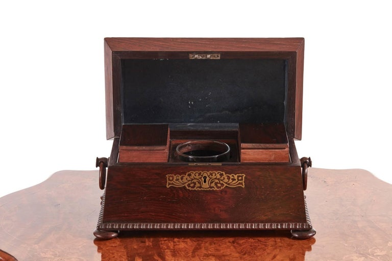 Fine regency brass inlaid rosewood tea caddy, the sarcophagus shape tea caddy having original brass inlay, gadrooned edges, turned handles on the sides, standing on four bun feet, the interior contains two removable rosewood canisters, glass mixing