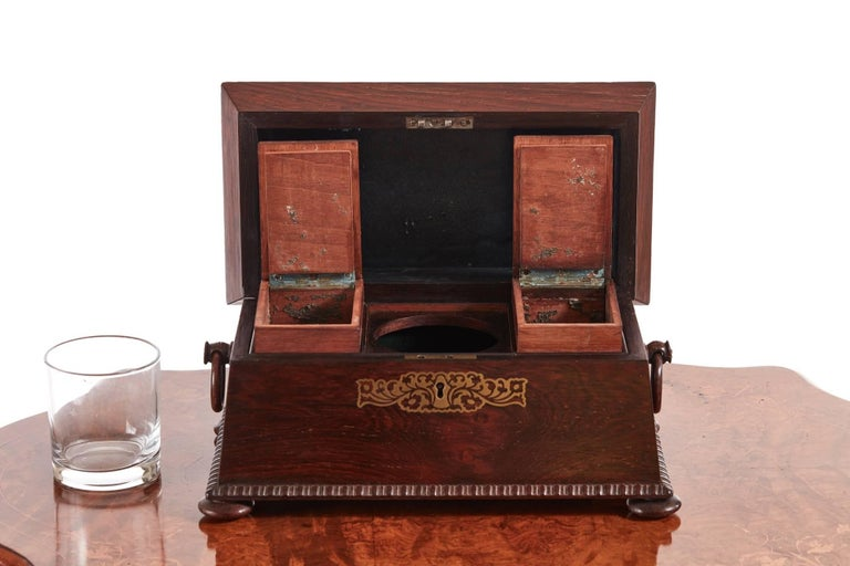 European Fine Regency Brass Inlaid Rosewood Tea Caddy For Sale