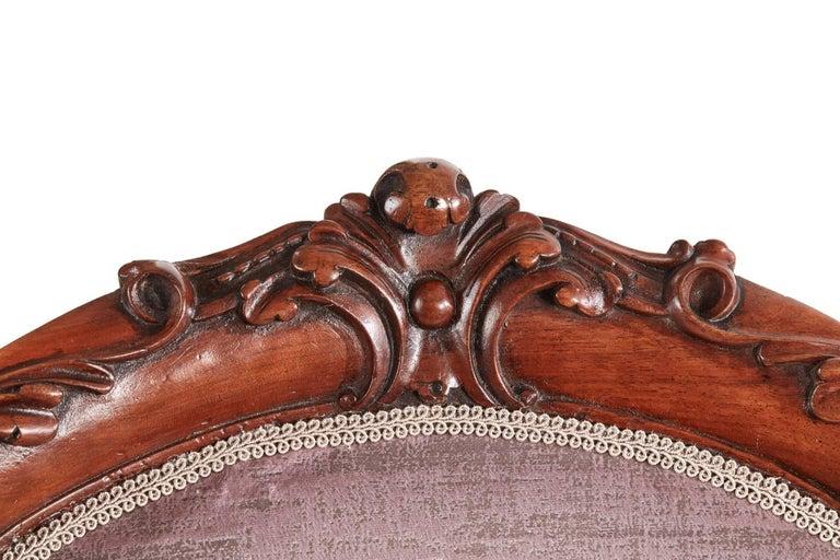 European Fine Victorian Carved Walnut Ladies Chair For Sale