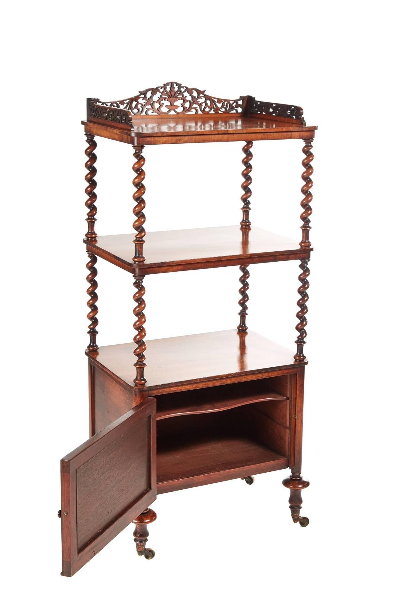 Merveilleux Victorian Burr Walnut Whatnot, The Top Having A Shaped Fretwork Gallery,  Lovely Walnut Shelves
