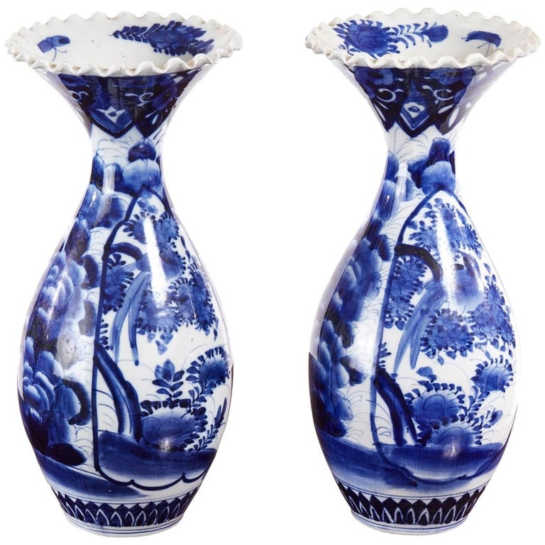 Large Pair of 19th Century Japanese Blue and White Imari Vases
