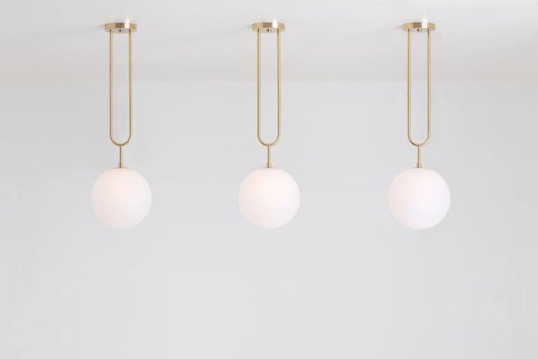 Art Deco Koko, a Modern Brass Pendant Light with Satin Globe Shade in Graphite Finish For Sale