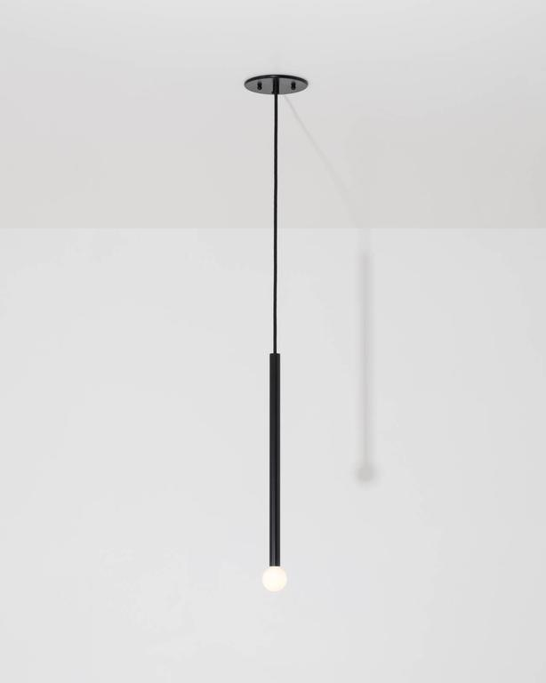 American Strike, A Modern Adjustable Pendant Light Handcrafted in Solid Brushed Brass For Sale