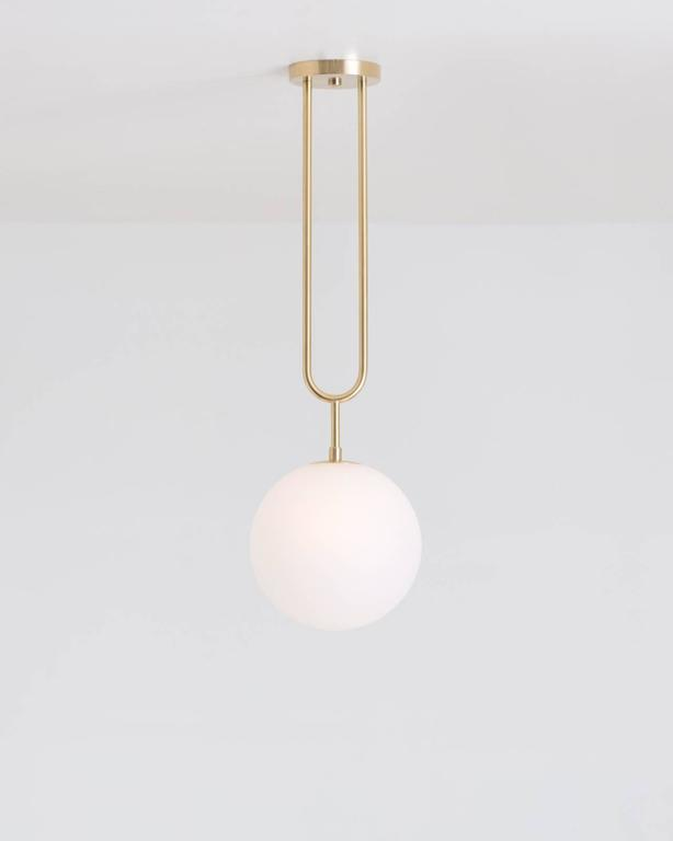 Hand-Crafted Koko, Modern Pendant Light with Satin Globe Shade and Matte Black Finish For Sale