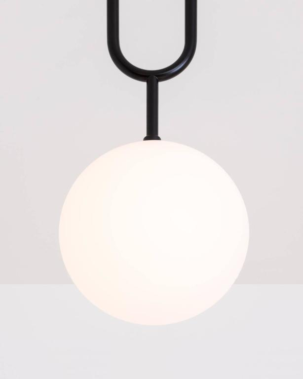 Koko, A Modern Pendant Light with Satin Globe Shade in Brushed Brass Finish For Sale 1