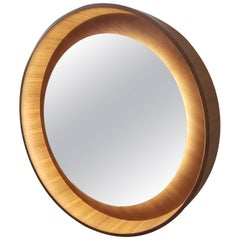 Halo Mirror with LED Light, Walnut, Dims on Rotation