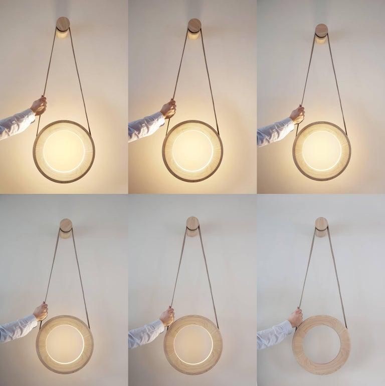 Scandinavian Modern Halo Wall Lamp 'DIM' Oak For Sale