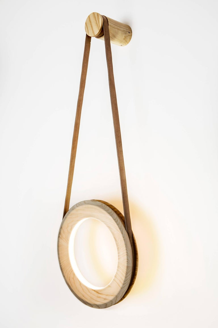 American Halo Wall Lamp 'DIM' Oak For Sale