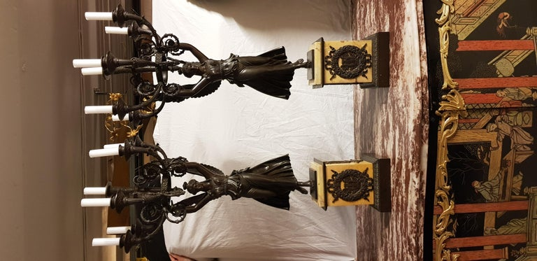 19th Century Pair of Empire Patinated Bronze Candelabra Attributed to Thomire For Sale