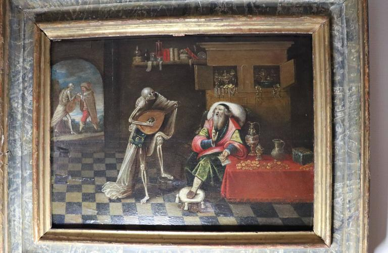 17th century painting attributed to Frans Franken the younger, play with death. it has also original frame.