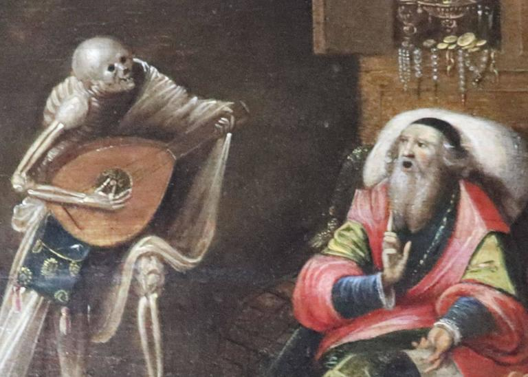 Baroque 17th Century Painting Attributed to Frans Franken the Younger, Play with Death For Sale
