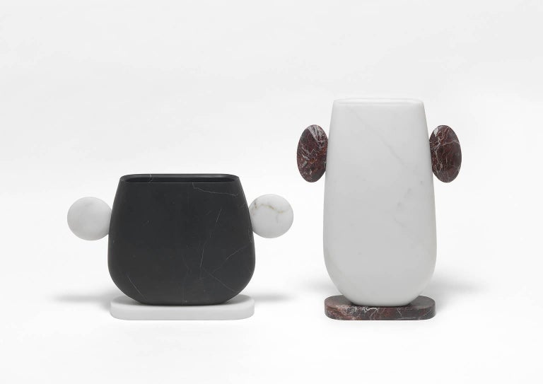 Italian Vase in White and Black Marbles by Matteo Cibic, Made in Italy For Sale