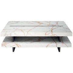 Coffee Table in Calacatta Gold Marble & Brass, Stefano Belingardi Cluso in Stock