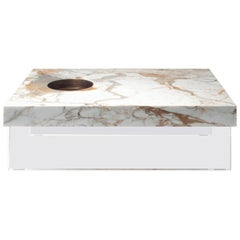Coffee Table in Calacatta Gold Marble and Brass by Stefano Belingardi, in stock