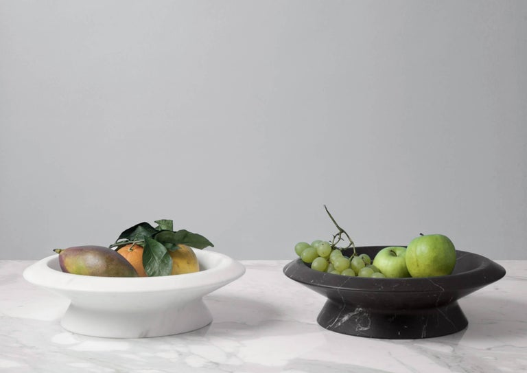 Black marble centrepiece, inspired by Caravaggio's basket of fruit, it shows off marble in an extremely realistic dimension. Size: 36.5*10 cm, smooth finishing. Commercial name: Amaltea, Materia e Tavola Collection by the Spanish Designer Ivan