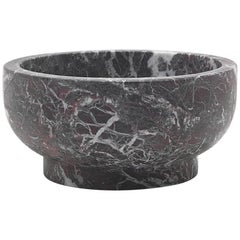 Bowl in Rosso Levanto Marble by Cristoforo Trapani, Made in Italy, in stock