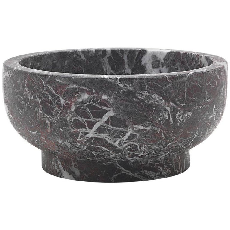 Bowl in Rosso Levanto Marble by Cristoforo Trapani, Made in Italy, in stock For Sale