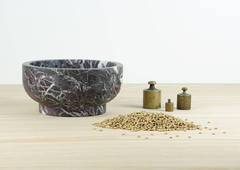 Modern Bowl in Rosso Levanto Marble by Cristoforo Trapani, Made in Italy, in stock For Sale
