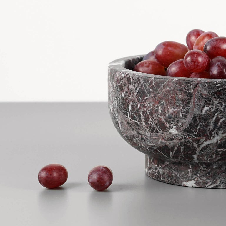 Contemporary Bowl in Rosso Levanto Marble by Cristoforo Trapani, Made in Italy, in stock For Sale