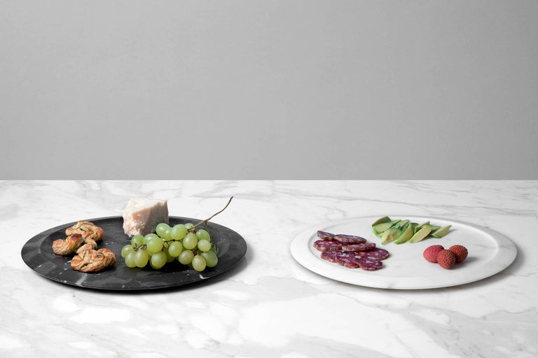 Italian Tray or Serving Platter in Black Marquina Marble by Ivan Colominas For Sale