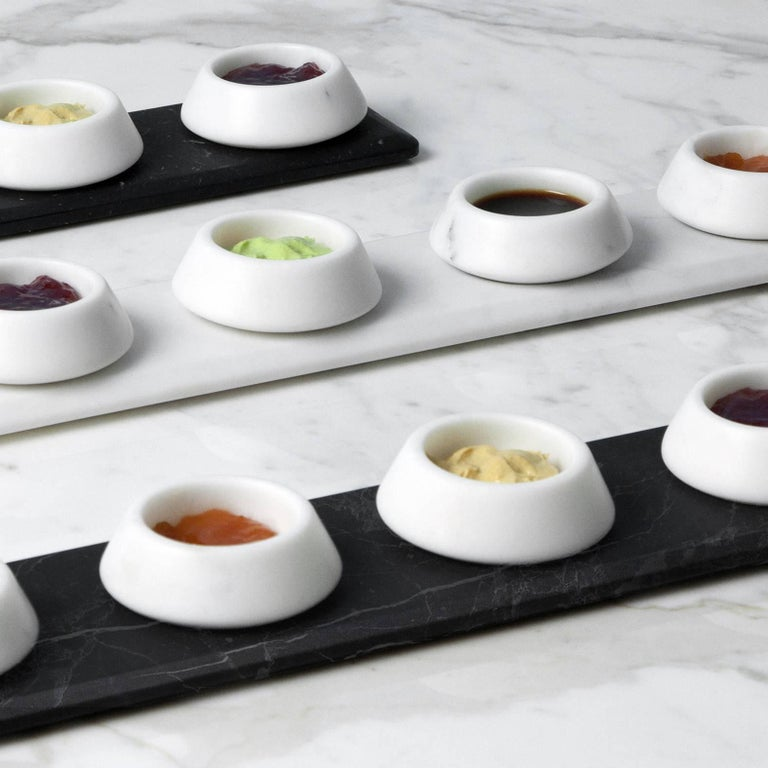 Modern Condiments Tray in White Michelangelo Marble by Colominas, Italy, in Stock For Sale