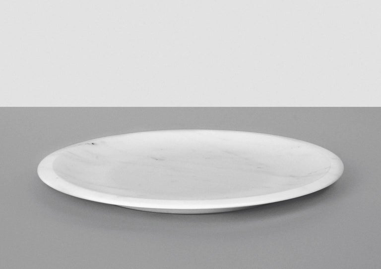 Modern Dish in White Michelangelo Marble by Ivan Colominas, Italy, in Stock For Sale
