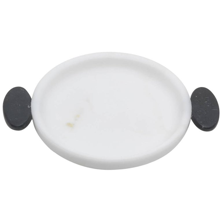 Small Tray in White and Black Marble by Matteo Cibic, Italy in Stock For Sale