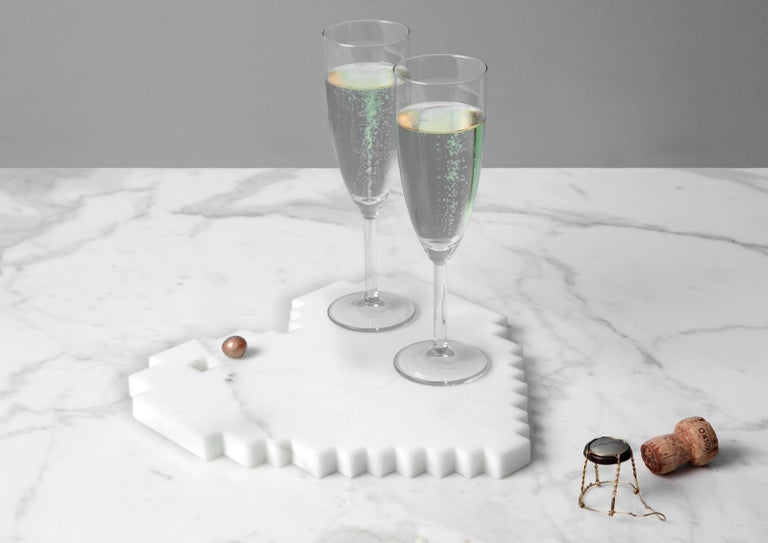 Modern Tray in White Statuario Marble by Michele Chiossi, Italy, in Stock