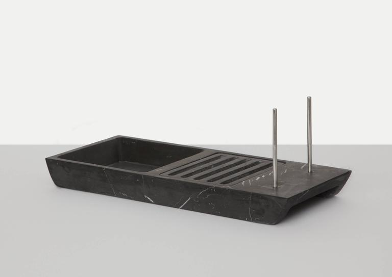 Italian Bread Basket in Black Marquina Marble by Cristoforo Trapani, Italy For Sale