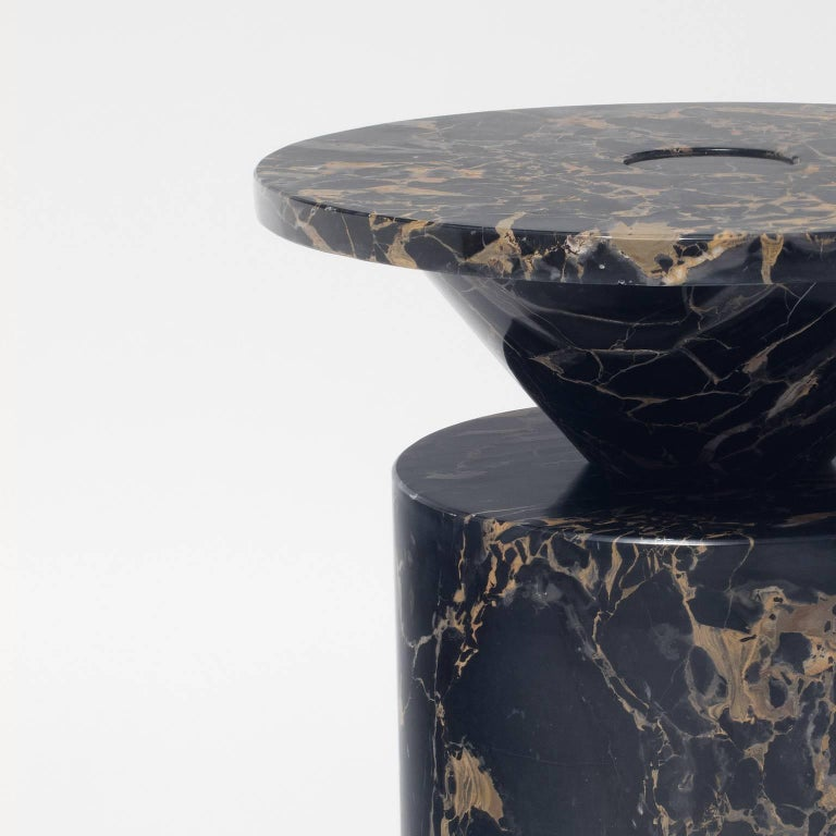 Modern Coffee Table in Black Portoro Marble, by Karen Chekerdjian. Numbered Ed. Italy For Sale