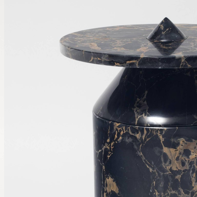 Italian Coffee Table in Black Portoro Marble, by Karen Chekerdjian. Numbered Ed. Italy For Sale