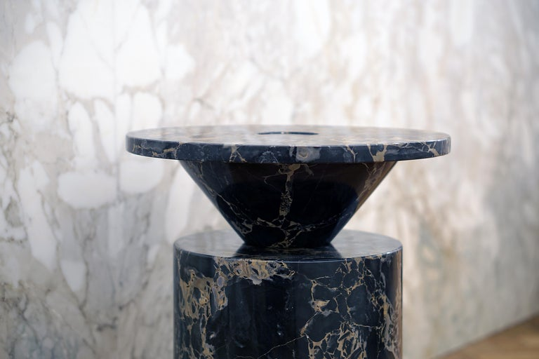 Coffee Table in Black Portoro Marble, by Karen Chekerdjian. Numbered Ed. Italy For Sale 2