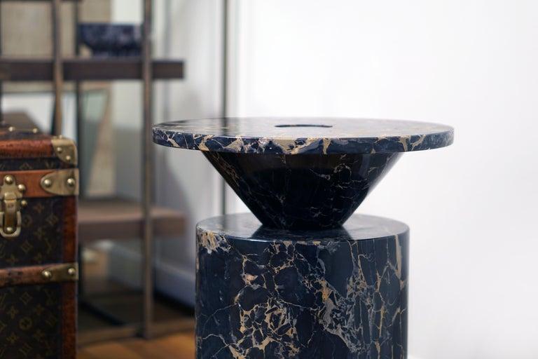 Coffee Table in Black Portoro Marble, by Karen Chekerdjian. Numbered Ed. Italy For Sale 3
