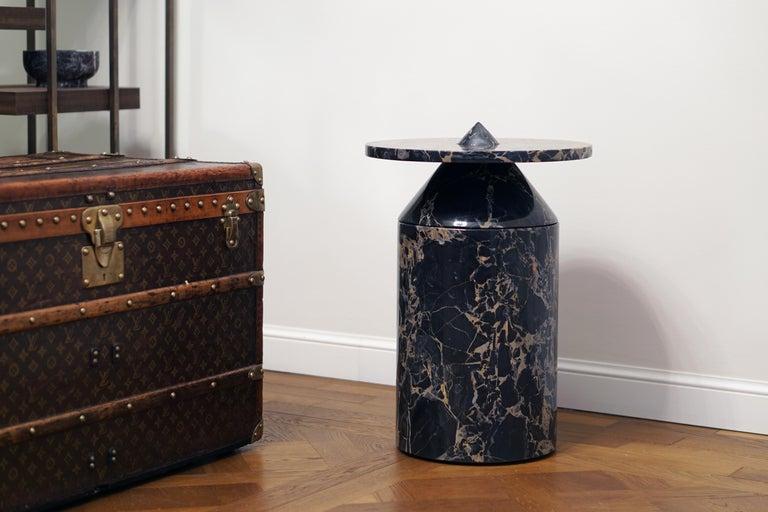 Coffee Table in Black Portoro Marble, by Karen Chekerdjian. Numbered Ed. Italy For Sale 4