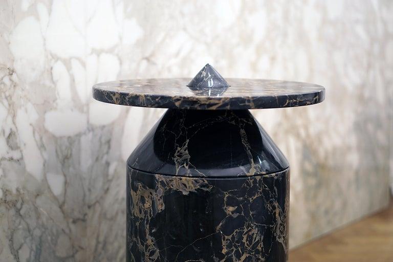 Coffee Table in Black Portoro Marble, by Karen Chekerdjian. Numbered Ed. Italy For Sale 5