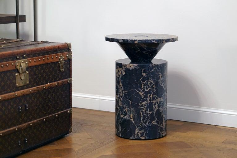 Coffee Table in Black Portoro Marble, by Karen Chekerdjian. Numbered Ed. Italy For Sale 6