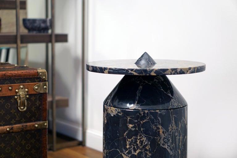 Coffee Table in Black Portoro Marble, by Karen Chekerdjian. Numbered Ed. Italy For Sale 7