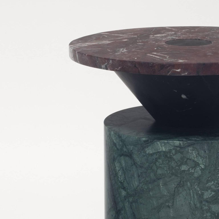 Coffee Table in Black, Red and Green Marble, Numbered Edition. 3