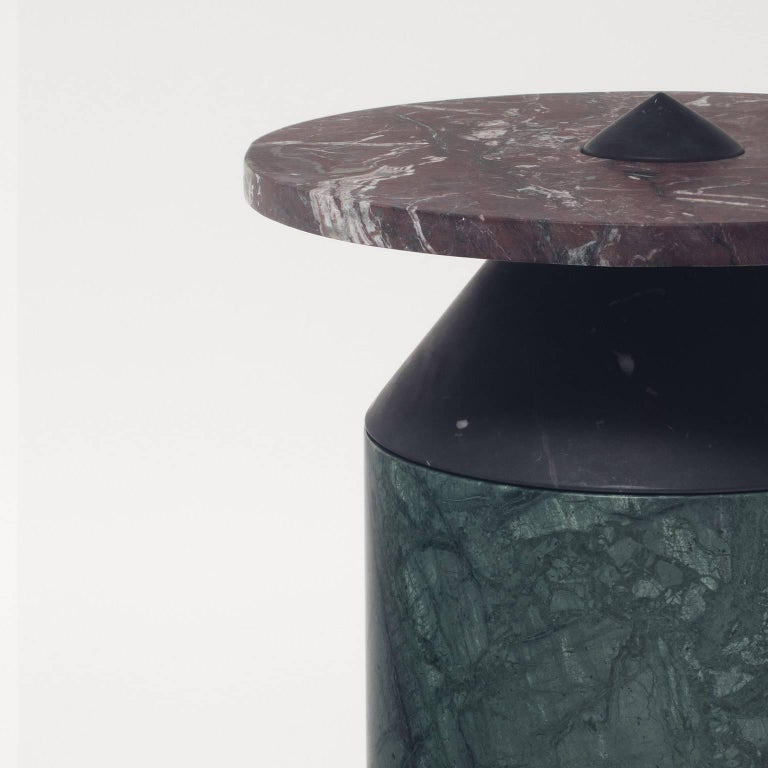 Coffee Table in Black, Red and Green Marble, Numbered Edition. 4
