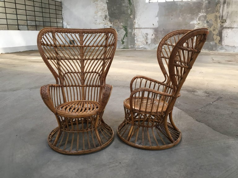 Pair of Italian rattan chairs from 1940s designed by Lio Carminati, edited by Bonacina. Saleable separately, on demand.